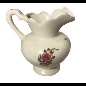 Antique Vintage Ceramic White Rose Floral Pitcher